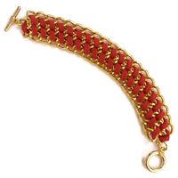 Bracelet femme chaine dorée  tresse rouge, rose, fushia ou gris 16 - 17 cm