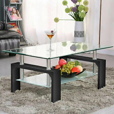 Rectangle Glass CoffeeTable Modern Living Room Side Center Clear Table Furniture