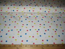 """WHITE WITH RED/BLUE/YELLOW POLKA DOT TAFFETA FABRIC 60"""" WIDE BY THE YARD"""