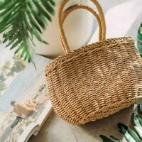 Lady Straw Basket Bag Wicker Handbag Rattan Summer Beach Boho Holiday Casual New