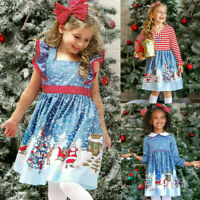 Toddler Baby Kids Girls Christmas Santa Print Bow Princess Dresses Clothes AU