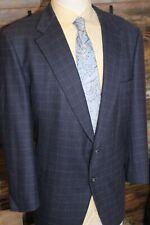 Burberry's Wool Cashmere Blue Check Blazer Sport Jacket 46 R