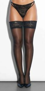 Ann Summers Black Lace Top Hold Ups Stockings Small / Medium