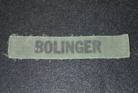 Vietnam War Era US Army Name Tape 'BOLINGER' OG-107 Original Uniform Removed