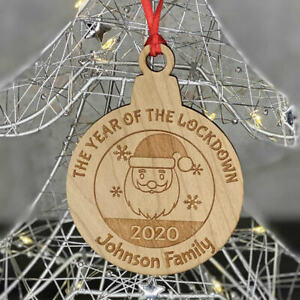PERSONALISED WOODEN LOCKDOWN 2020 FAMILY CHRISTMAS TREE DECORATION BAUBLE GIFT