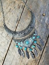 Fashion Statement Necklace Turquoise Chips Feather Dangles Rolo Stainless Chain