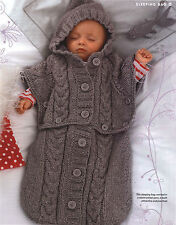 Clever Chunky Baby Sleeping Bag - Converts to Hooded Poncho 0 - 6 Months TO KNIT