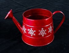 Red Shabby Chic  Tin Xmas Watering Can -Ideal For Faux Flowers Or Xmas Pot Plant