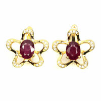 Oval Red Ruby 8x6mm White Cubic Zirconia 925 Sterling Silver Earrings