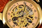 Invicta 17188 Men's Vintage Light Brown Leather Band Skeleton Gold Dial Watch