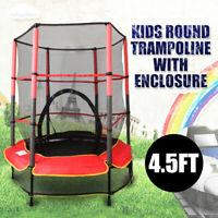 4.5FT Kids Junior Round Trampoline With Enclosure Safety Net Pad Indoor Outdoor