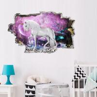 3D Cute Chic Unicorn Wall Sticker Kids Bedroom Room Nursery Decal Ornament Gift