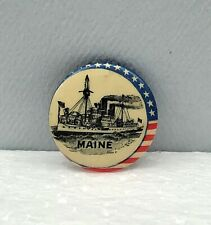 US Battleship Maine Spanish-American War Pin 1898 Celluloid Pinback 7/8""