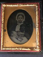 Beautiful Smiling Girl in Bonnet with Dog Ambrotype 1/9 Plate Full Case Tinted
