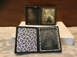PAIR SMALL ANTIQUE 1800's  TIN TYPE PHOTOS IN WOOD BOOK FRAMES