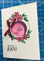 "Sympathy Card Hand Stamped And Inked Flowers Pinkfoil A Tiny Metal ""Love"" Charm"