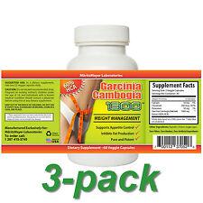 3 Garcinia Cambogia 1300 Extract 3x 60 Capsules 60% HCA Pure Weight Loss Formula