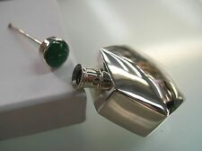 Sterling Silver Hexagon shape perfume bottle vintage style w Green Agate no bail