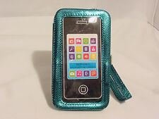 iPhone5 iPhone 5s Cell Phone Case Shiny Blue Purse Wallet Wristlet Clutch#17a