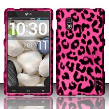 AT&T LG Optimus G E970 Rubberized HARD Case Snap On Phone Cover Hot Pink Leopard