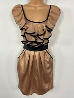 BNWT WOMENS LIPSY LONDON GOLD/BLACK RUFFLE FRONT PARTY OCCASION MINI DRESS  UK 8