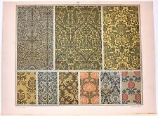 Stampa antica DECORAZIONI TESSUTI STOFFE Tav 147 fiori 1883 Old antique print
