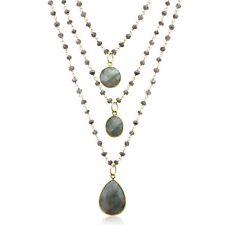 14K Gold Over Sterling Silver Labradorite Triple Strand Beaded Necklace