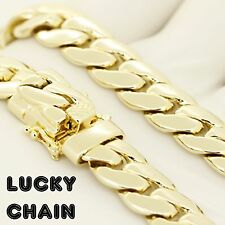 """30""""14K GOLD FINISH MIAMI CUBAN LINK HEAVY CHAIN NECKLACE 12mm 185g A25"""