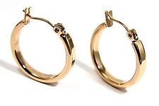 Yellow Gold PVD Hoop Earrings 3/4 inch Hypoallergenic Stainless Surgical Steel