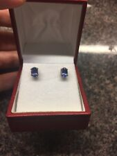 Genuine AA TANZANITE 1ct Studs 925 Silver 14 Kt Gold Bonded