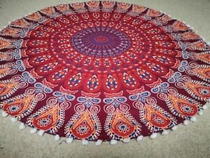 "Orange Peacock Mandala Cotton Handmade Large Round Floor Cushion Cover 32"" In"