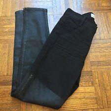 NEW J Brand Richard Nicoll Sz 25 High Rise Zipper Skinny Waxed Panel Black Jeans