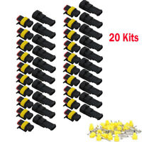 20 Sets  2 Pin Way Car Waterproof Male Female Electrical Connector Plug Wire Kit
