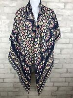 """Boho Oversize Shawl Scarf Wrap Floral Blue With Pink Yellow Floral Fringe 52X52"""""""