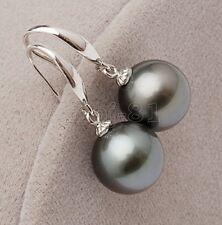 10MM Genuine Gray South Sea Shell Pearl Fashion Drop Dangle Earrings AAA+