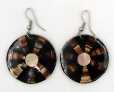 FAIR TRADE Brown Mother of Pearl Drop Ethnic Earrings Indonesia