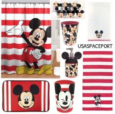 19pc Kids MICKEY MOUSE Complete BATHROOM SET Shower Curtain+Hooks+Mat+Towels Lot