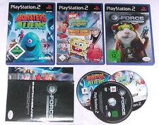 3 pointes Enfants Jeux Pour Playstation 2 par exemple G-FORCE; Bob l'éponge; Monsters agroalimentaires