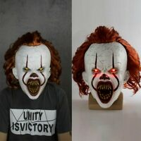 Pennywise LED Joker Mask Chapter Two 2 Horror Clown Halloween Cosplay Scary Prop