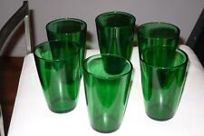 Vintage 6pc. Set Vereco France Emerald Green Glass Tumblers  Beverage 8 ounces
