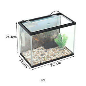 LED Fish Tank Starter Kits Aquarium Desktop Goldfish Bowl w/ Filter/Plant/Cobble