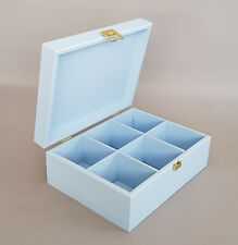 Blue Wooden Box Tea Bag Chest 6 Compartment Removable Dividers Storage Twinings
