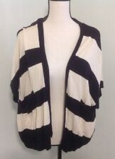Cardigan Sweater Sz M Over Sized Thick Striped Loose Short Sleeve Top Open Front