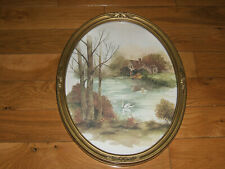 Vtg. Home Interiors~Homco Swan On Lake Picture Oval Gold Frame Vguc