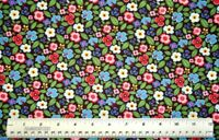 By the 1/2 yard 100% cotton fabric Helens Meadow Pansies Posies flowers floral