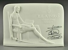 1985 Lladro Collectors Society Display Sign (2) Signed Bisque Plaques