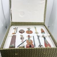 Antique Semi-Precious Jade Stone Miniature Chinese Musical Instruments W/Stands
