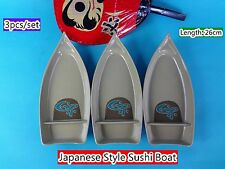 Japanese Style Sushi Boat Melamine Gold 3pcs/Set 26cm (B52) New