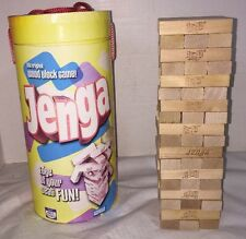 Original Jenga Wood Block Game in Carry Tube Drum Case All 54 Pieces Included