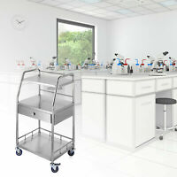 3-Layer Stainless Steel Lab Cart Trolley w/ Upper Drawer Wheel Serving Equipment